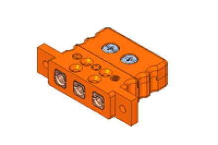 Immagine di Inserto da Pannello Standard a Tre Contatti con Alette di Fissaggio